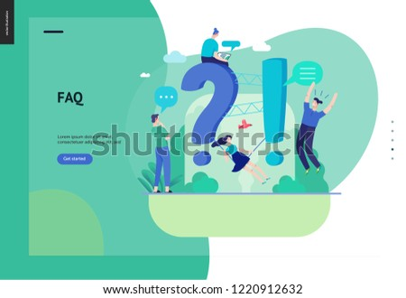 Business, color 3- FAQ -modern flat vector concept illustration of Frequently asked questions People around exclamation and question marks Question answer metaphor Creative web page design template