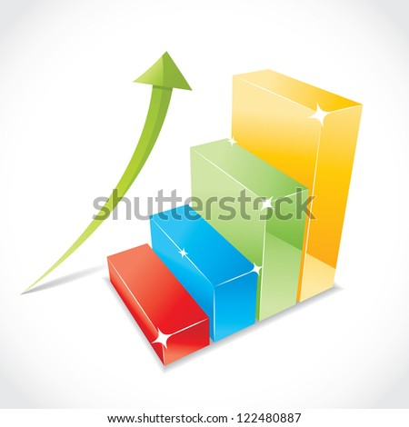 Business color graph with rising equity arrow, illustration
