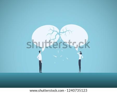 Business communication breakdown vector concept. Symbol of misunderstanding, negotiation problems, miscommunication, argument. Eps10 vector illustration.