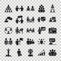 Business communication icon set in flat style. Team structure vector illustration on white isolated background. Office teamwork business concept.