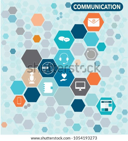 Business Communication icons in hexagonal design and bright colours
