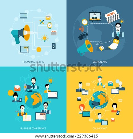 Business communication icons set with promo marketing media news conference online chat isolated vector illustration