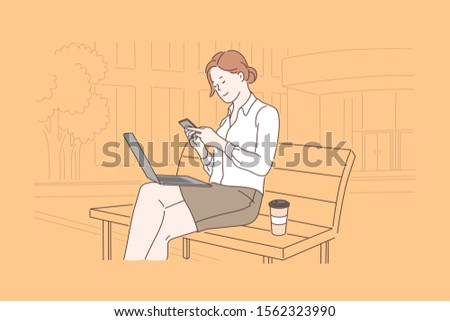 Business, communication, lunch, freelance concept. Young happy with a smile woman, businesswoman resting during breakfast. Successful girl, office worker or blogger. Online negotiations. Flat vector.