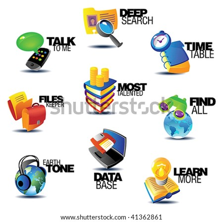 Business communications icons. Heading concepts for article or website. Vector illustration.