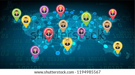 Business community network with the world map, businessman #1194985567