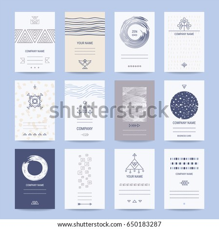 Business, company cards. Creative template collection of cards, flyers, banners with hand drawn textures, brush strokes, trendy thin line icons, geometric stylized illustrations. Isolated vector set.