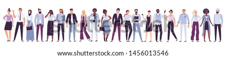 Business company people. Office team, multicultural collective workers group and businessman community. Diverse multinational freelancers, persons on job businessparty vector illustration