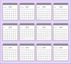 Business company spiral white calender template design. Render calendar desk planner 2015 template, week starts monday. vector art image illustration, every page isolated on purple background, eps10