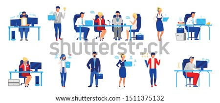 Business company staff flat vector illustrations set. Programmer, directors board, analyst. Workers isolated cartoon characters. Financier, accountant, HR manager, and customer support operator