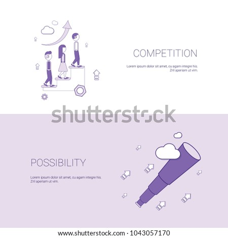 Business Competition And Possibility For Development Template Web Banner With Copy Space Vector Illustration