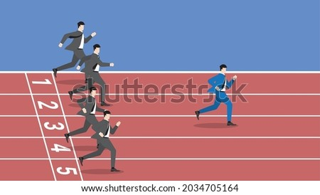 Business competition concept of businessman running in race rubber track. A successful competitive leader is a different entrepreneur from other competitors. A winning strategy to compete with rivals. Сток-фото ©