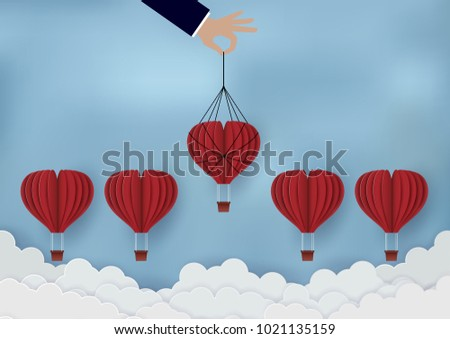 Business competition concept The red hot air balloons group competes up to the sky. The businessmen pull up. Succeed in Organization Business. Trading. Vector illustrations
