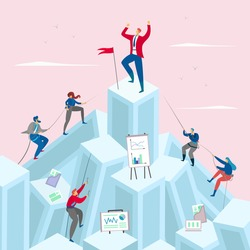 Business competition concept vector illustration. Businessman on the top pf the mountain. Competitive businessmen climb up. People cartoon characters compete for leadership. Success, goal achievement.