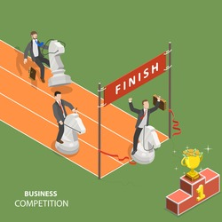 Business competition flat isometric low poly vector concept. Three businessmen are riding the chess knights and try to be first in the finish of the race to get the reward.