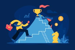 Business competition flat vector illustration. Career ladder, job promotion, corporate competition, success achievement concept. Office workers, businessmen climbing mountain cartoon characters