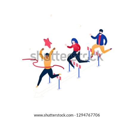 Business competition - modern colorful isometric vector illustration on white background. Image of male, female characters jumping over obstacles, hurdles, businessman winning. Leadership concept