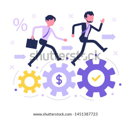 Business competition race. Businessmen contest, companies and individuals competing for market leadership, professional corporate rivalry. Vector abstract illustration with faceless character
