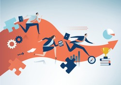 Business competition. The team rushes to the target. Business vector illustration