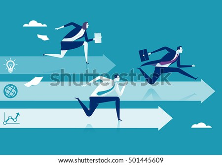 Business competition. Three business persons racing on the arrows.  Concept vector illustration.
