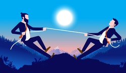 Business competition - Two businessmen rivals in formal wear competing outdoors. Rivalry and contest concept. Vector illustration.