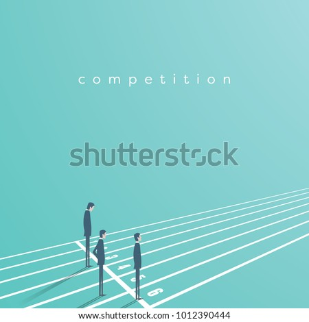 Business competition vector concept with businessman on running track. Symbol of rivals, challenge, leadership. Eps10 vector illustration.