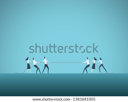Business competition vector concept with teams in tug of war pulling rope. Symbol of competitive fight, struggle, challenge for leadership. Eps10 illustration