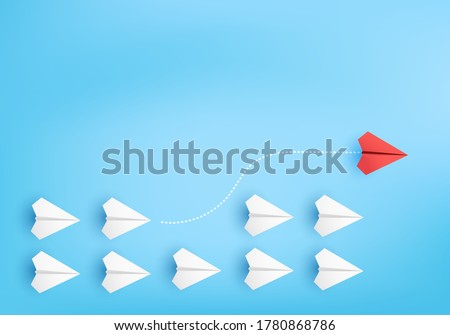 Business competitor advantage of paper plane in new competitive,  competitor individual pointing in different ways for new competitive advantage on 3D render vector. advantage for new idea competition Stockfoto ©