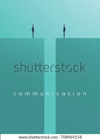 Business comunication or negotiation problems, issues. Two businessmen icons with gap between them. Eps10 vector illustration.