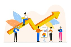Business concept. A group of people characters or a team members are analyzing, thinking over an idea. Rise of the career to success. Prepare and boost a business project start up. Vector illustration