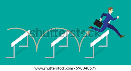 Business Concept As A Full-Energy Businessman Is Jumping Over The Hurdles. It Means Performing The Best Effort To Overcome Variety Of Obstacles, Barriers, Difficulties In Order To Achieve The Target.