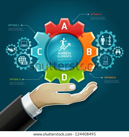 Business concept. businessman hand with business strategy diagram options in Gears symbol. Vector illustration. can be used for workflow layout, diagram, number options , web design, infographics. - stock vector