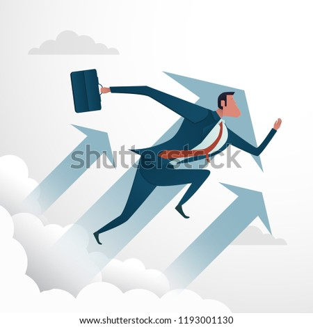 business concept,businessman moving to the sky with arrow,vector
