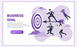 Business concept. Businessman standing on dart to achieve business goal. Can used for web banner, infographics, landing page, web template. Flat vector illustration