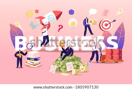 Business Concept. Businessmen Characters Launch Startup, Working with Documents and Earning Big Money. People Ambitious Aims Achievement, Project Deals Poster Banner Flyer. Cartoon Vector Illustration