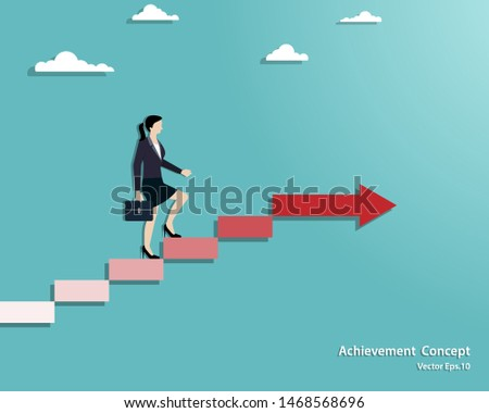 Business concept. Businesswoman walking on stair up to success. Achievement, Success, Leadership, Growth, Opportunity. Vector illustration flat