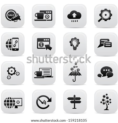 Business Concept buttons,Black version,vector