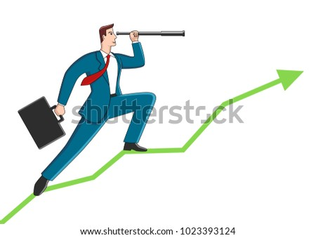 Business concept cartoon of a businessman using telescope on graphic chart. Concept for forecast, prediction, success, planning in business