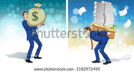 Business concept clipart. Business man with dollar money bag. Businessman carrying finance papers. Colorful cartoon characters. Vector illustration.
