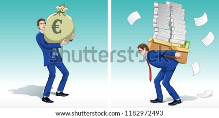 Business concept clipart. Business man with money bag. Businessman carrying financial reports. Colorful cartoon characters. Vector illustration.