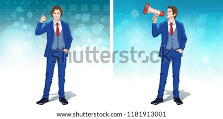 Business concept clipart. Businessman. Office people. Thumb up hand gesture. Megaphone announcement. Colorful cartoon characters. Vector illustration.