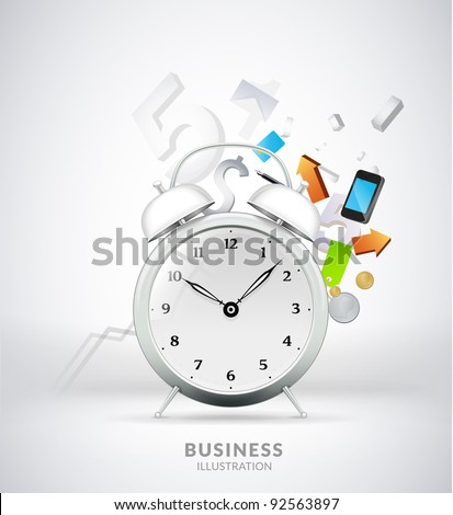 business concept design with alarm clock - stock vector