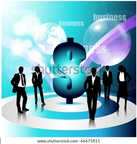 business concept design with business people team and 3d dollar sign