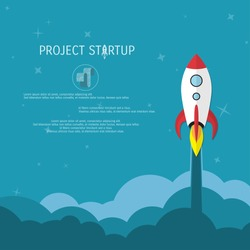 Business concept for project startup. Rocket launch.
