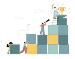 Business concept. Goal achievement metaphor. Flat people build the rungs of the career ladder. Striving for success. Struggle for an advantage. Vector illustration.