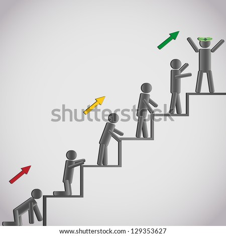 Business concept - icons of the men stepping up a staircase to glory and success. Vector illustration