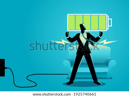 Business concept illustration of a businessman after getting restful sleep and waking up energized Foto stock ©