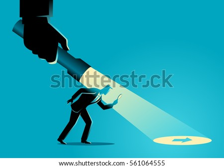 Business concept illustration of a businessman being guided by a hand holding a flashlight uncovering arrow sign.