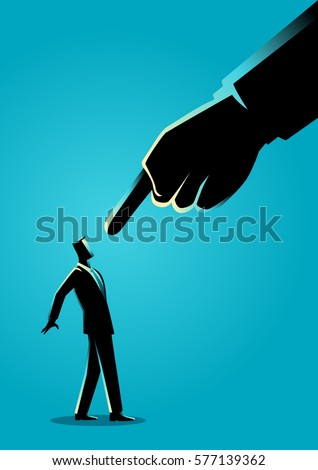 Business concept illustration of a businessman being pointed by giant finger Stockfoto ©