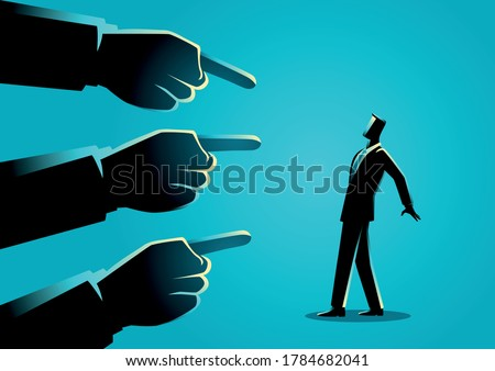 Business concept illustration of a businessman being pointed by giant fingers Foto d'archivio ©