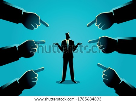 Business concept illustration of a businessman being pointed by giant fingers Foto stock ©